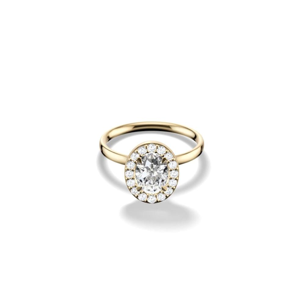 <p>The stones around this <span>Gemist The Oval Halo Ring</span> ($1,010) are so beautiful.</p>