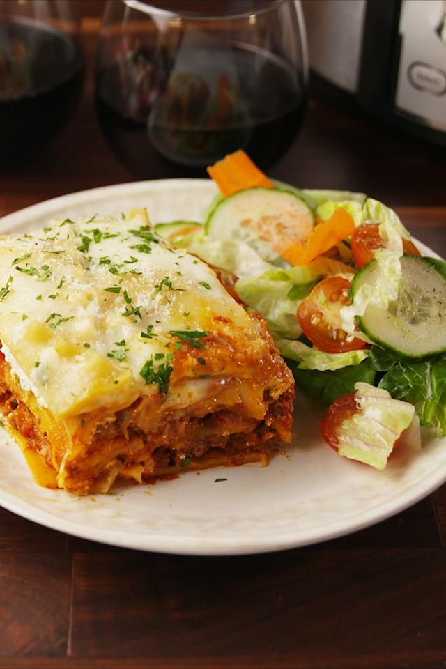 "<p>A classic lasagna made easy.</p><p>Get the recipe from <a rel=""nofollow"" href=""https://www.delish.com/cooking/recipe-ideas/recipes/a56239/crock-pot-lasagna-recipe/"">Delish</a>.</p><p><strong><em><a rel=""nofollow"" href=""https://www.amazon.com/Crock-Pot-SCCPVL600S-6-Quart-Portable-Stainless/dp/B003HF6PUO/ref=sr_1_2_sspa?s=home-garden&ie=UTF8&qid=1508537178&sr=1-2-spons&keywords=crock+pot&psc=1&tag=delish_auto-append-20&ascsubtag=[artid