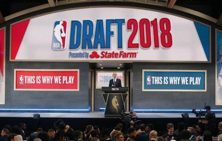 FILE PHOTO: Jun 21, 2018; Brooklyn, NY, USA; NBA commissioner Adam Silver speaks during the first round of the 2018 NBA Draft at the Barclays Center. Mandatory Credit: Brad Penner-USA TODAY Sports/File Photo