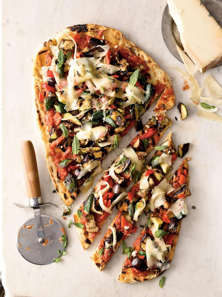 """<p>A sprinkling of bright, sweet mint complements the smoky grilled vegetables in this dish.</p> <p> <a href=""""http://www.myrecipes.com/recipe/veggie-grilled-pizza"""">View Recipe: Veggie Grilled Pizza</a></p>"""