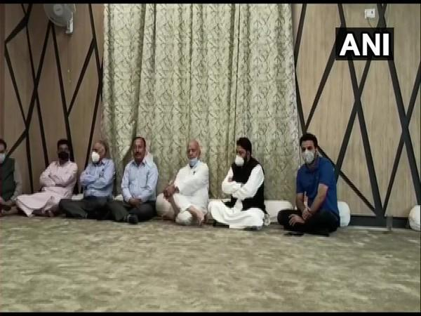 A meeting of PDP underway at party chief Mehboob Mufti's residence in Srinagar. (Photo/ANI)