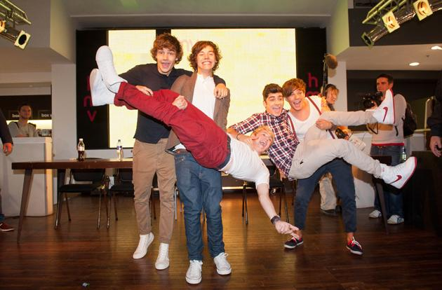 One Direction got a bit over excited as they prepared to meet some fans ahead of their new single release.