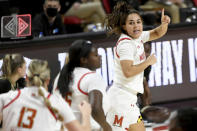 Maryland guard Katie Benzan (11) celebrates after a play against the Purdue during the second half of an NCAA college basketball game, Sunday, Jan. 10, 2021, in College Park, Md. (AP Photo/Will Newton)