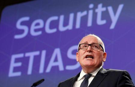 EU Commission First Vice-President Timmermans addresses a news conference in Brussels