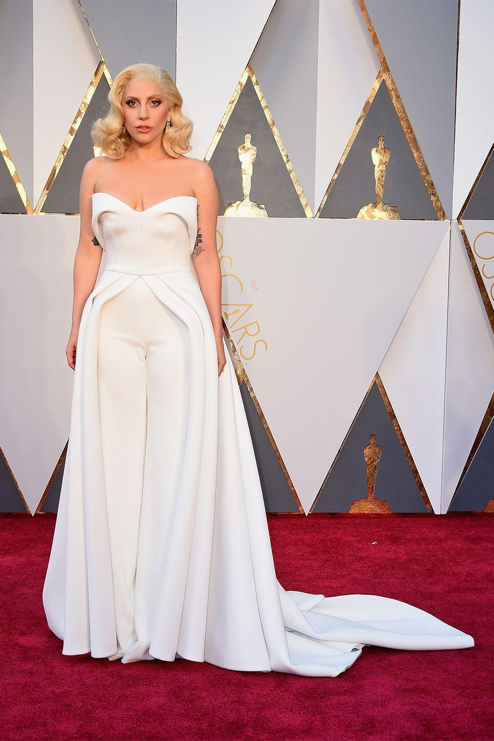 <p>It's not often that you see a jumpsuit at the Academy Awards, but if anyone can get away with it, it's certainly rule breaker Lady Gaga. Upon first glance her Brandon Maxwell-designed jumpsuit still had the look of a haute couture gown. </p>