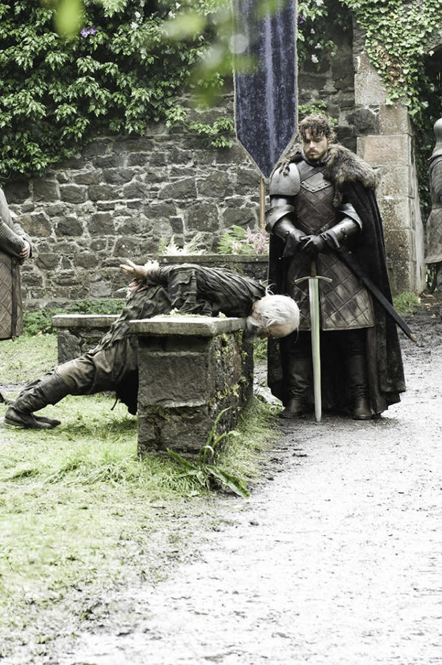 """John Stahl and Richard Madden in the """"Game of Thrones"""" Season 3 episode, """"Kissed by Fire."""""""