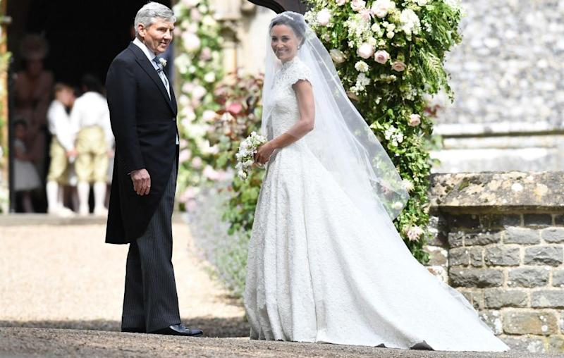 Pippa married hedge fund manager James Matthews - pictured here with her father. Source: Getty