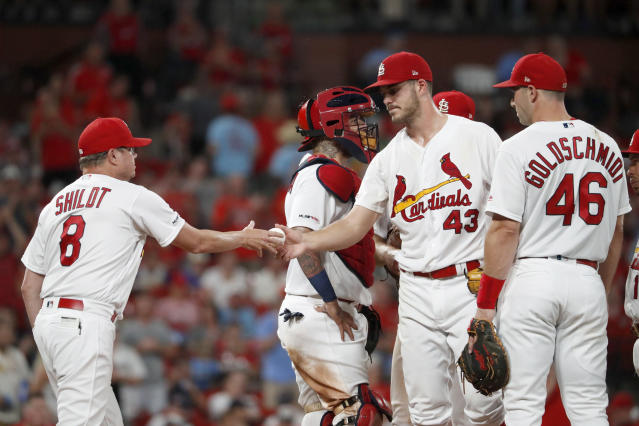 St. Louis Cardinals starting pitcher Dakota Hudson (43) is removed by manager Mike Shildt (8) during the seventh inning of a baseball game against the Milwaukee Brewers, Monday, Aug. 19, 2019, in St. Louis. (AP Photo/Jeff Roberson)