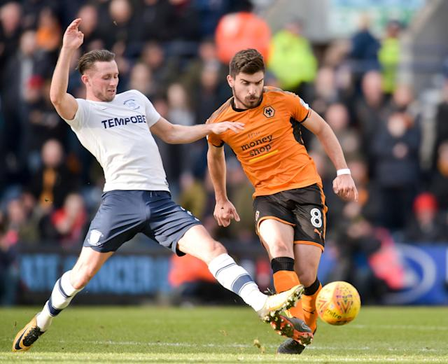 "Soccer Football - Championship - Preston North End vs Wolverhampton Wanderers - Deepdale, Preston, Britain - February 17, 2018 PrestonÕs Alan Browne in action with Wolverhampton WanderersÕ Ruben Neves Action Images/Paul Burrows EDITORIAL USE ONLY. No use with unauthorized audio, video, data, fixture lists, club/league logos or ""live"" services. Online in-match use limited to 75 images, no video emulation. No use in betting, games or single club/league/player publications. Please contact your account representative for further details."