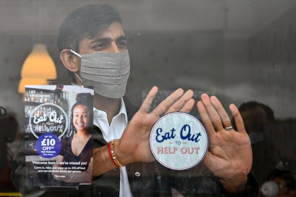 The ONS said the impact of Rishi Sunak's Eat Out to Help Out scheme should reverse next month, given that it only ran for one month in 2020 (Jeff J Mitchell/PA) (PA Archive)