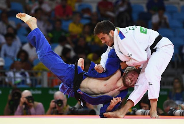 <p>Tobias Englmaier of Germany competes against Francisco Garrigos of Spain in the Men's -60 kg Judo on Day 1 of the Rio 2016 Olympic Games at Carioca Arena 2 on August 6, 2016 in Rio de Janeiro, Brazil. (Photo by David Ramos/Getty Images) </p>
