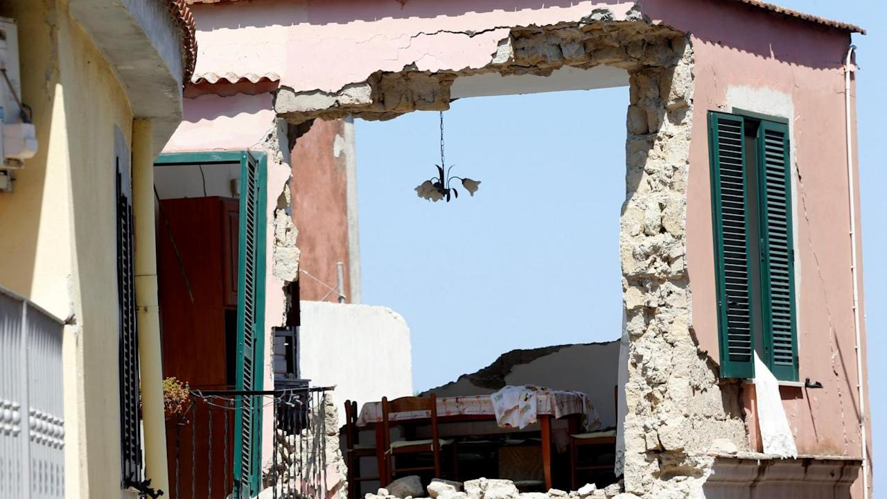 A damaged house is seen after an earthquake hit the island of Ischia