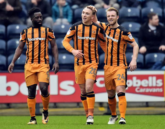 "Soccer Football - Championship - Preston North End vs Hull City - Deepdale, Preston, Britain - February 3, 2018 Hull City's Jarrod Bowen celebrates with Nouha Dicko and Max Clark after scoring their first goal Action Images/Paul Burrows EDITORIAL USE ONLY. No use with unauthorized audio, video, data, fixture lists, club/league logos or ""live"" services. Online in-match use limited to 75 images, no video emulation. No use in betting, games or single club/league/player publications. Please contact your account representative for further details."