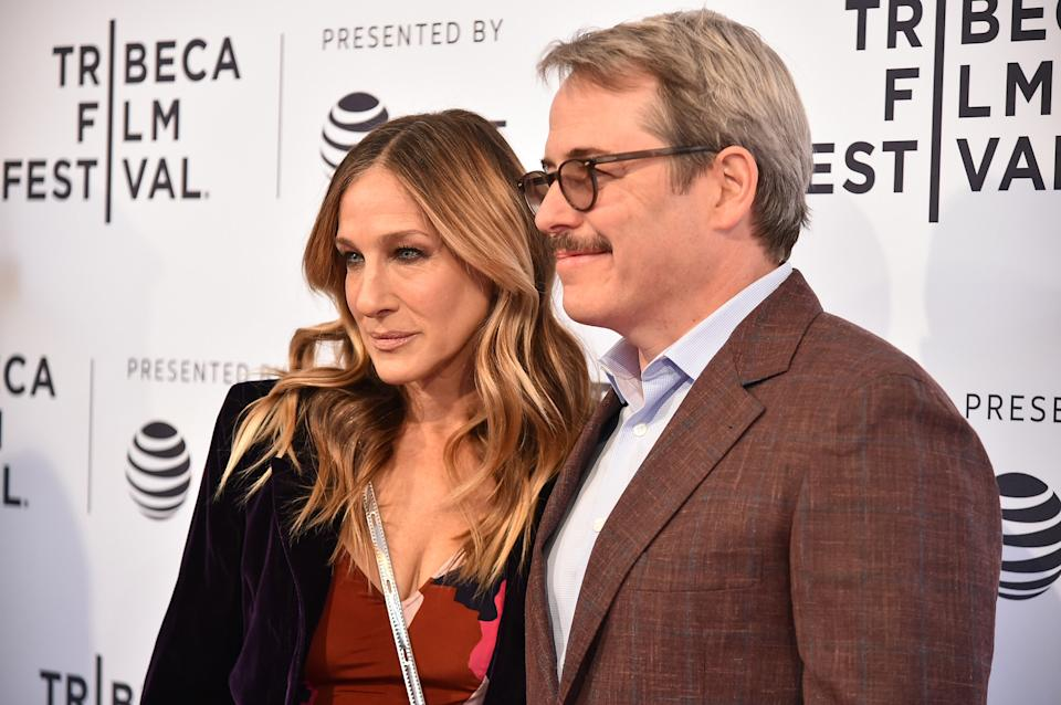 """NEW YORK, NY - APRIL 22:  Sarah Jessica Parker and Matthew Broderick attend a screening of """"To Dust"""" during the 2018 Tribeca Film Festival at SVA Theatre on April 22, 2018 in New York City.  (Photo by Mike Coppola/Getty Images for Tribeca Film Festival)"""