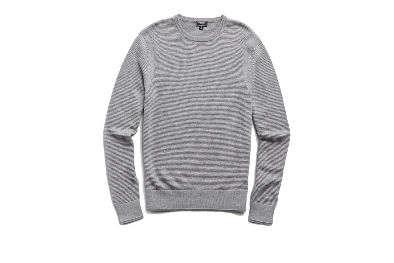 "$198, Todd Snyder. <a href=""https://www.toddsnyder.com/collections/luxe-utility-collection/products/merino-waffle-crew-grey-heather-1"">Get it now!</a>"
