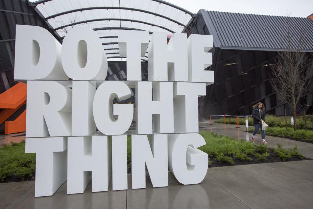Nike headquarters in Beaverton, Oregon, US. The office has been closed for deep cleaning after a staff member tested positive for COVID-19. (Natalie Behring/Getty Images)
