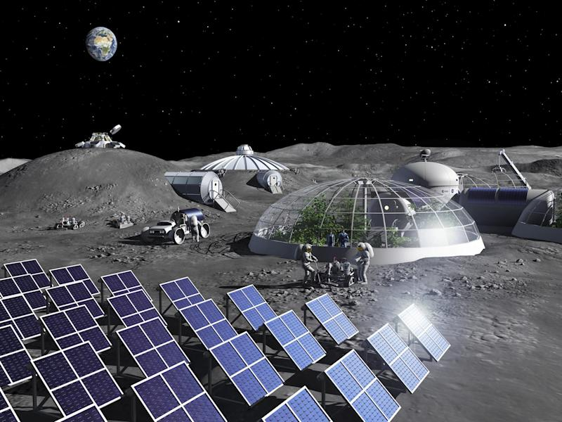 Artist impression of activities in a Moon Base: ESA - P. Carril