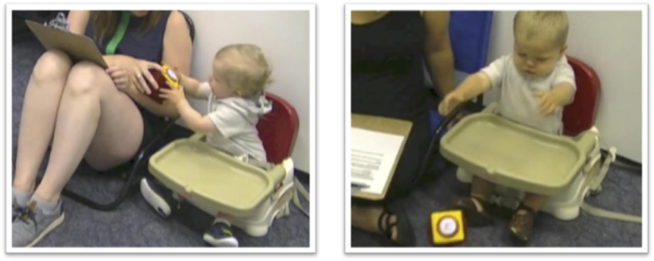 "This combination of undated images taken from video provided by Julia Anne Leonard shows a ""handoff"" of a baby handing the toy to the parent, left, or throwing the toy to the ground during a study conducted by researchers. Children around 15 months old can become more persistent in pursuing a goal if they've just seen an adult succeed after struggling, a new study says. The results suggest ""the potential value in letting children 'see you sweat:' Showing children that hard work might encourage them to work hard too,"" researchers conclude in a report released Thursday, Sept. 21, 2017, by the journal Science. (Julia Anne Leonard via AP)"