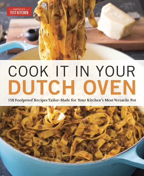 "This image provided by America's Test Kitchen in March 2019 shows the cover for the book ""Cook It In Your Dutch Oven."" It includes a recipe for Lamb Meatballs With Orzo. (America's Test Kitchen via AP)"