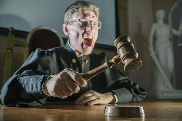 """<span class=""""caption"""">Judges mete out longer sentences after the time change, a study found.</span> <span class=""""attribution""""><a class=""""link rapid-noclick-resp"""" href=""""https://www.shutterstock.com/image-photo/angry-man-judge-hammer-his-hand-645149488?src=LmXbadtOhl6Rb58bNjXLSg-1-47"""" rel=""""nofollow noopener"""" target=""""_blank"""" data-ylk=""""slk:Denis Simonov/Shutterstock.com"""">Denis Simonov/Shutterstock.com</a></span>"""