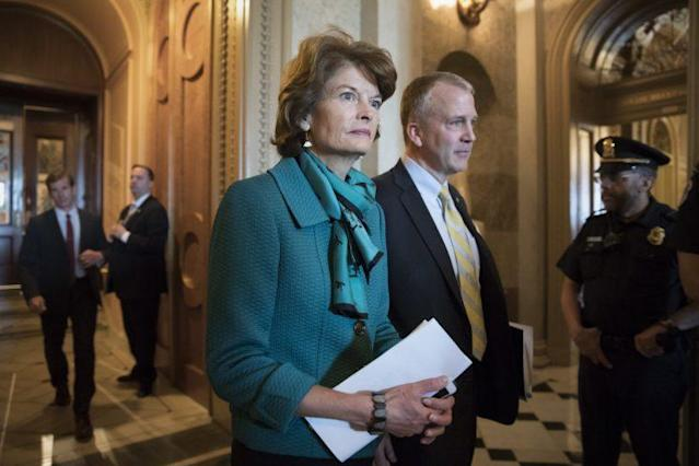 Republican Sens. Lisa Murkowski and Dan Sullivan of Alaska leave the chamber after a vote on Capitol Hill on May 10. (Photo: J. Scott Applewhite/AP)