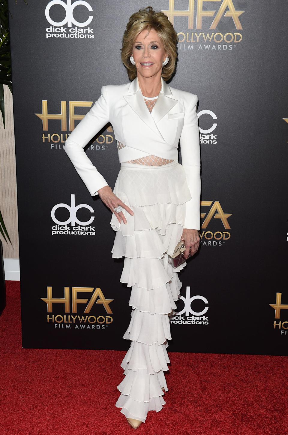 Jane Fonda in Balmain at the Hollywood Film Awards in 2016. (Photo: Getty Images)