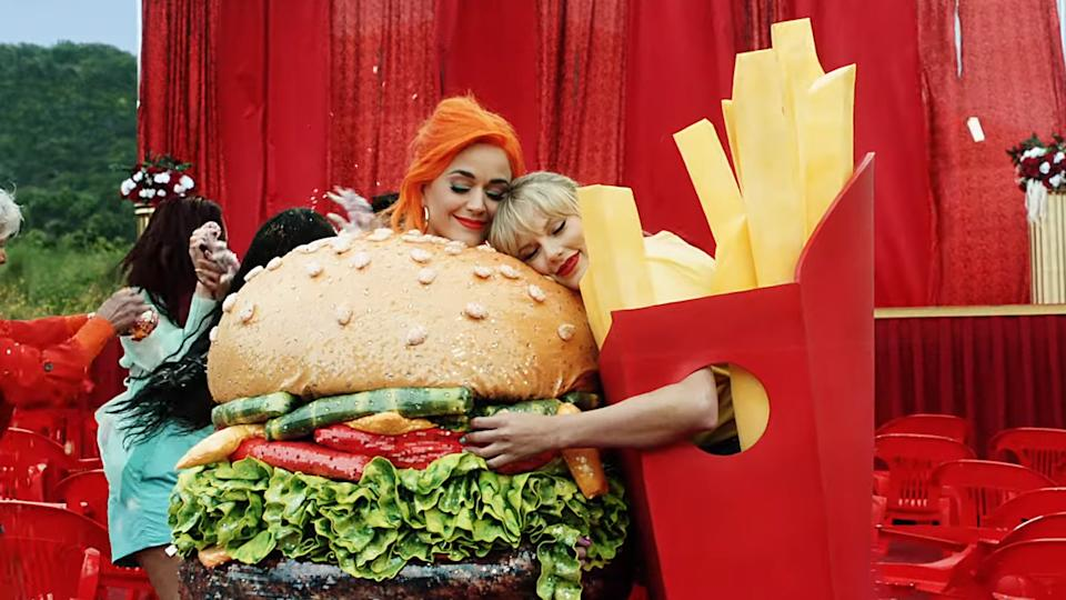 Katy Perry and Taylor Swift bury their showbiz feud in the music video for Swift's new single 'You Need to Calm Down'. (Credit: YouTube)