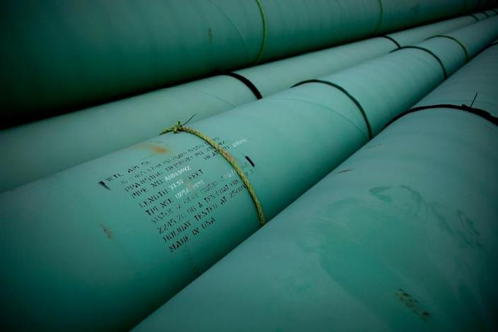 Pipe is stacked at the southern site of the Keystone XL pipeline in 2012 in Cushing, Oklahoma for the start of construction