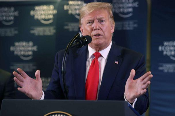 PHOTO: President Donald Trump gestures as he holds a news conference at the 50th World Economic Forum (WEF) in Davos, Switzerland, Jan. 22, 2020. (Jonathan Ernst/Reuters, FILE)
