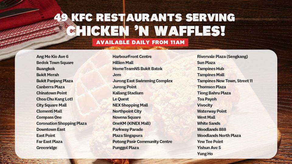 an infographic of Chicken 'N Waffles locations