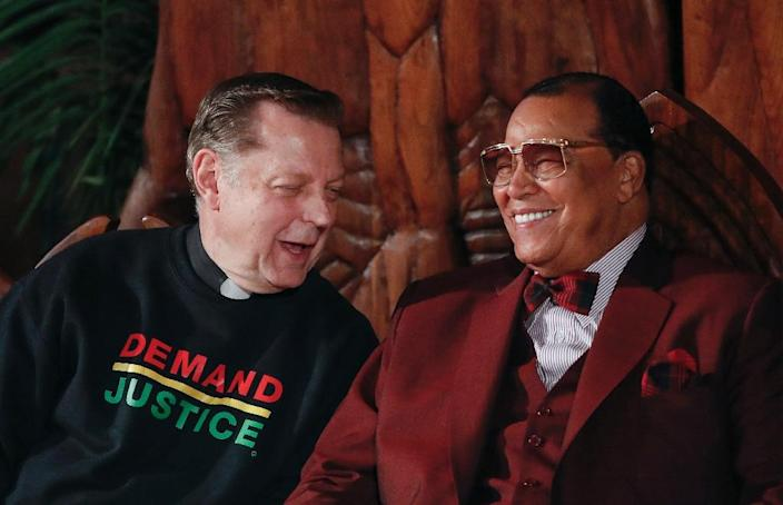 Farrakhan's supporters include Michael Pfleger -- the politically-active Chicago priest who invited the minister to speak at his Saint Sabina church (AFP Photo/KAMIL KRZACZYNSKI)