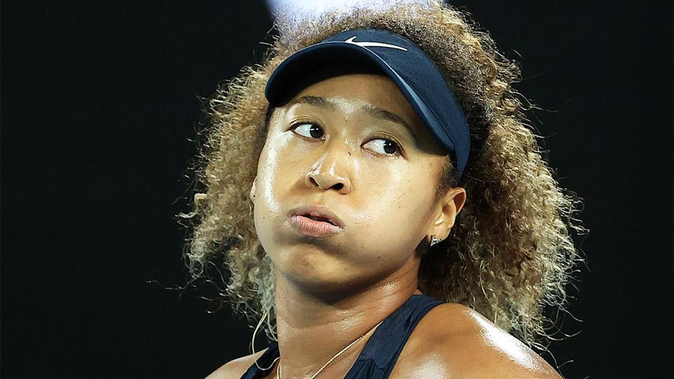 Naomi Osaka (pictured) looks on after a point in the Australian Open final.