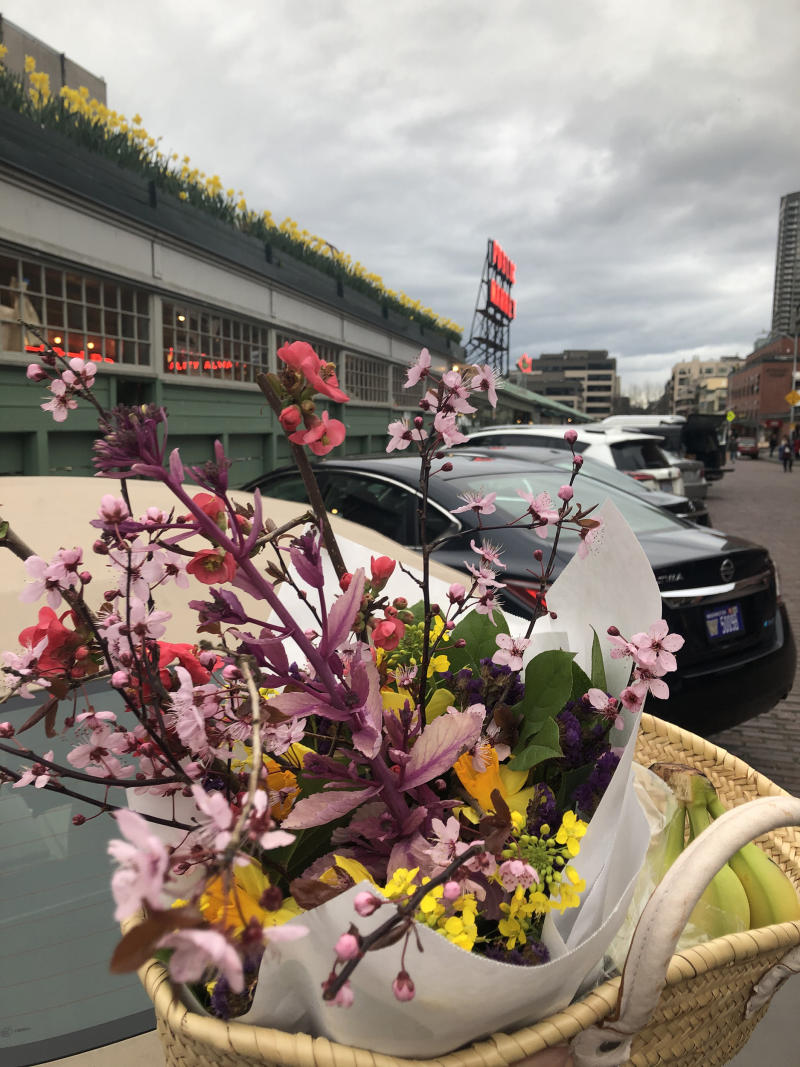 It's a great time to be a hometown tourist. These flowers were purchased at the eerily empty Pike Place Market in Seattle. (Courtesy of Kavita Varma-White)