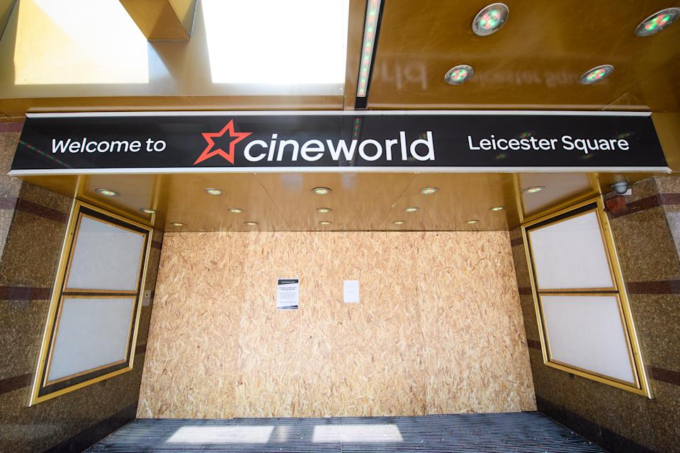 Closed cinemas in Leicester Square, London, as the UK continues in lockdown to help curb the spread of the coronavirus. Picture date: Thursday April 9, 2020. Photo credit should read: Matt Crossick/Empics