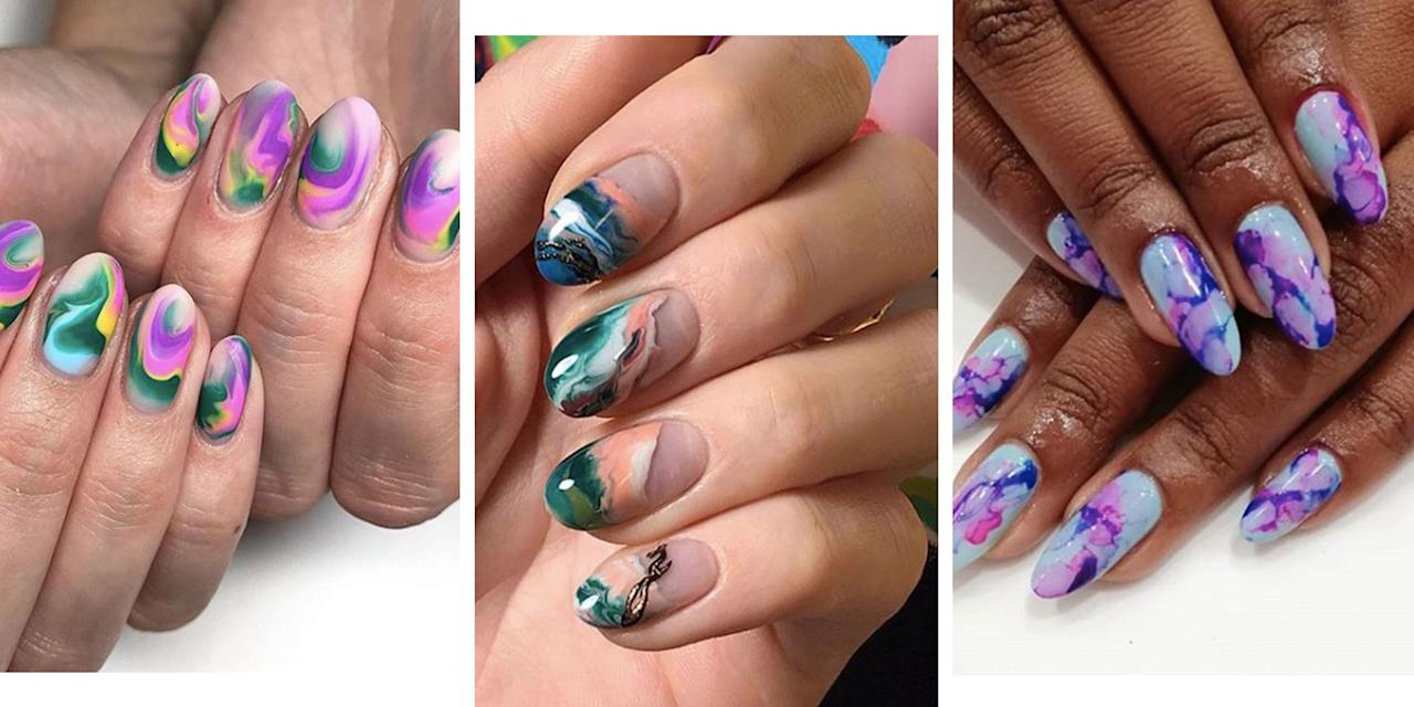 """<p>If you've mastered <a href=""""https://www.cosmopolitan.com/uk/beauty-hair/nails/g28604888/ombre-nails/"""" target=""""_blank"""">ombre nails</a>, you might want to advance your nail art skills to marble. Inspired by those naked Greek statues (you know the ones I mean) and Kris Jenner's countertops, the trend has expanded from simplistic white and grey, to multicolour. But before you dig out your tool kit, or in our case, book that salon appointment, make sure you take a scroll through our gallery of the best marble designs on Instagram first.</p>"""