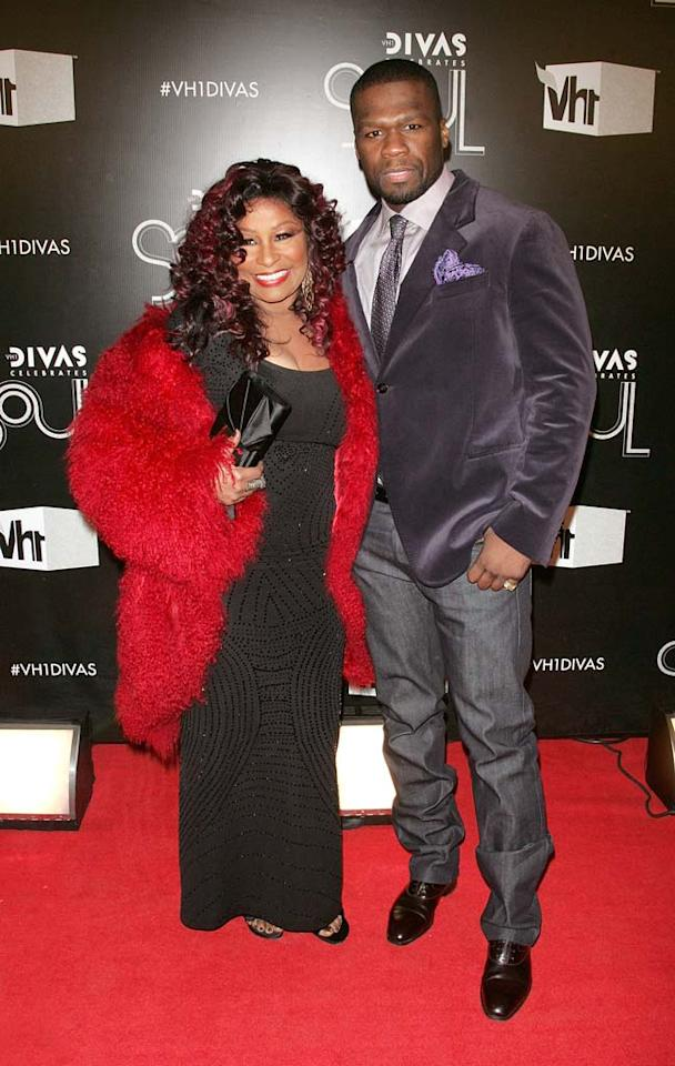 "Interestingly enough, Chaka Khan hit the arrivals line with a dapper 50 Cent. If you're wondering why the two were hanging out, the rapper told MTV, ""We're working together. We're working on a project, hit music."" (12/18/2011)"