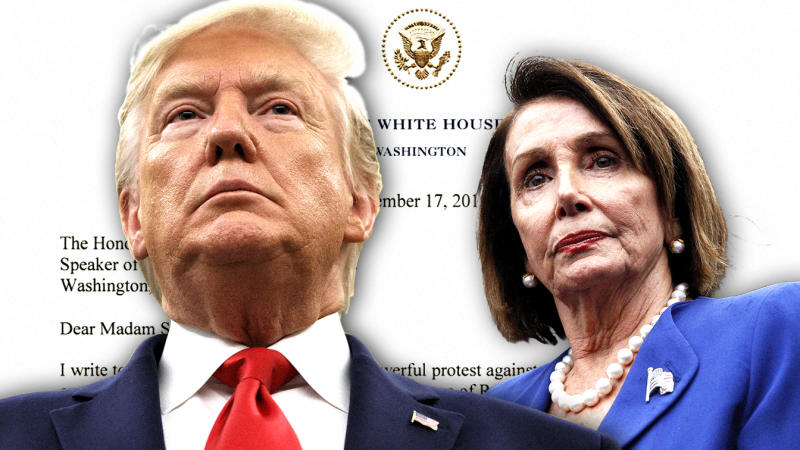 President Trump and House Speaker Nancy Pelosi. (Photo illustration: Yahoo News; photos: AP)