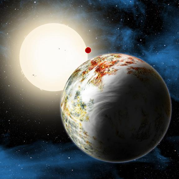 """An artist's illustration of the mega-Earth planet Kepler-10c, the""""Godzilla of Earths"""" planet that is 2.3 times the size of Earth and 17 times heavier. The planet and its lava-world sibling Kepler 10b (background) orbit the star Kepler-10 about"""