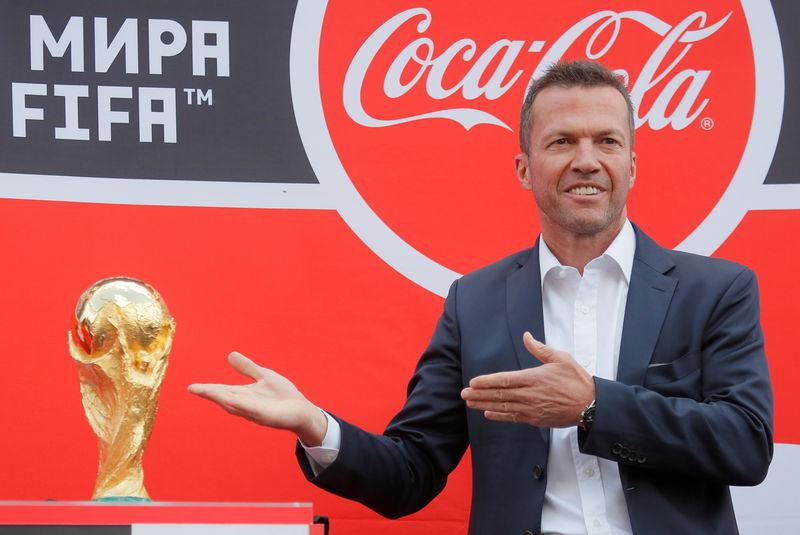 Former German soccer player Lothar Matthaeus attends a welcoming ceremony for the FIFA World Cup Trophy in central Moscow, Russia June 3, 2018. REUTERS/Maxim Shemetov