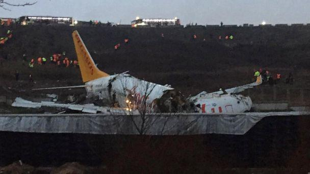 PHOTO: A Pegasus airlines Boeing 737 plane lies in pieces after it skidded off the runway at Istanbul's Sabiha Gokcen airport, Feb. 5, 2020. (Muhammed Demir/AFP via Getty Images)