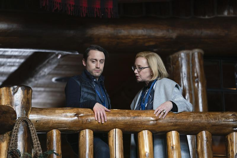 Kieran Culkin (Roman) and J. Smith-Cameron (Gerri) in Succession