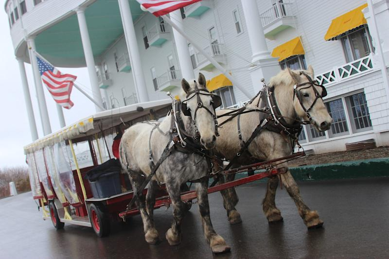 Horses pull a carriage on the grounds of the Grand Hotel on Michigan's Mackinac Island.