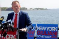 Andrew Giuliani speaks during news conference to launch Republican campaign for governor of New York State in New York