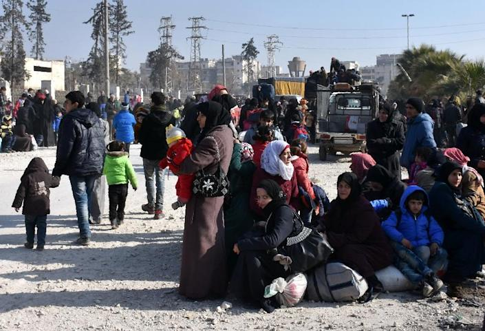 More than 130,000 civilians have fled eastern parts of Aleppo since the start of the regime's offensive in mid-November, according to the Syrian Observatory for Human Rights (AFP Photo/George Ourfalian)