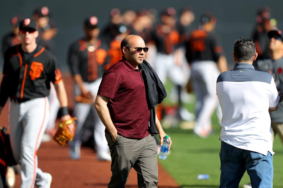 What should Giants president Farhan Zaidi do to build on the team's surprising 20-20 season? (Photo by Alex Trautwig/MLB Photos via Getty Images)
