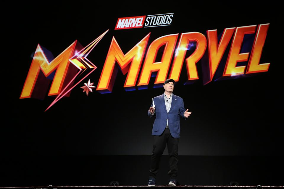 President of Marvel Studios Kevin Feige took part today in the Disney+ Showcase at Disney's D23 EXPO 2019 in Anaheim, Calif.  (Credit: Jesse Grant/Getty Images for Disney)