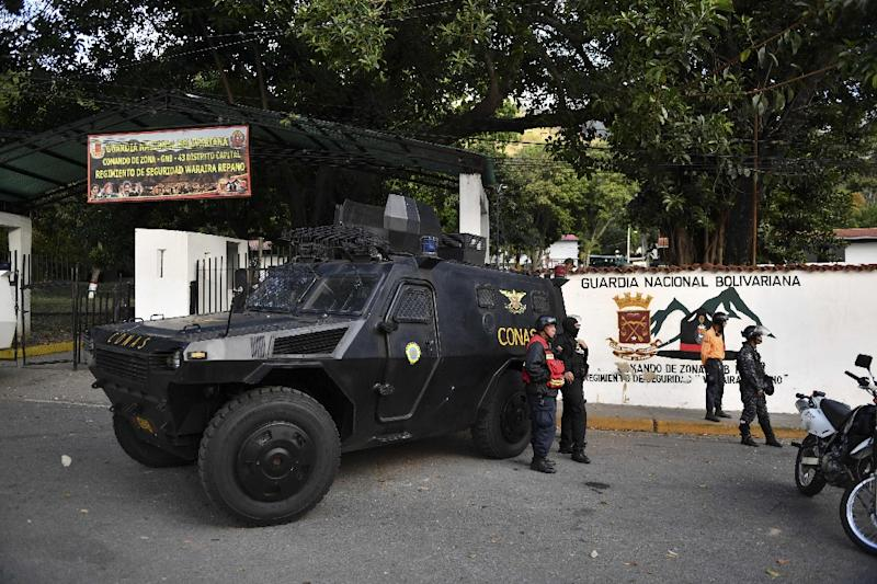 Armored cars in front of Cotiza Bolivarian National Guard headquarter in Caracas, Venezuela, after an uprising