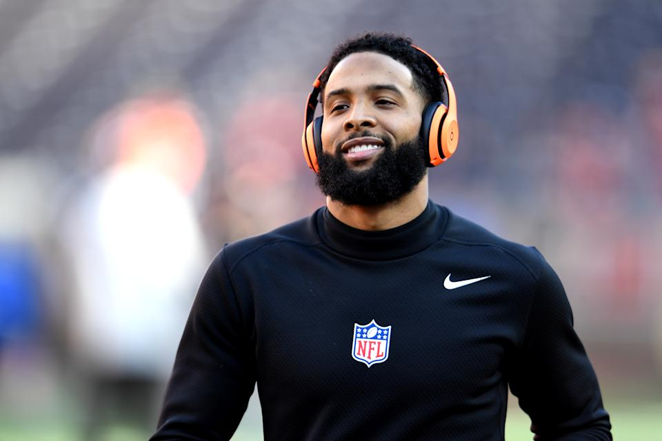 CLEVELAND, OHIO - DECEMBER 22: Odell Beckham Jr. #13 of the Cleveland Browns warms up prior to the game against the Baltimore Ravens at FirstEnergy Stadium on December 22, 2019 in Cleveland, Ohio. (Photo by Jason Miller/Getty Images)