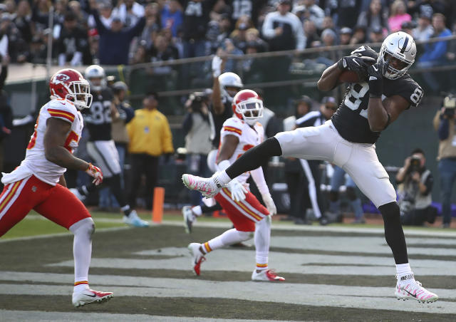 Lost among the Raiders terrible year is Jared Cook's career season.. (AP Photo/Ben Margot)