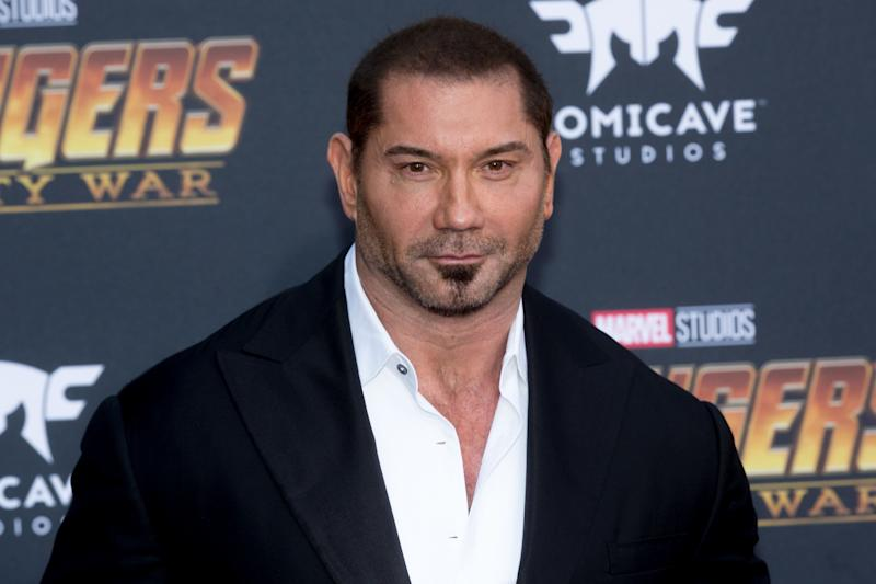 "Dave Bautista has emerged as an outspoken advocate for James Gunn, who was fired from the next ""Guardians of the Galaxy"" movie after offensive tweets from his past resurfaced. (Photo: Greg Doherty via Getty Images)"